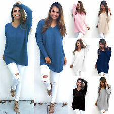 Womens V-Neck Chunky Knitwear Oversize Baggy Sweater Jumper Top Outwear Pullover