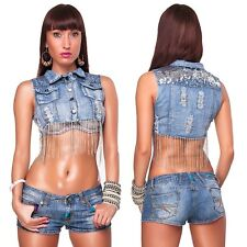 Ladies vest Jeans vest Short Denim Jacket Used Look with sequins and Chains