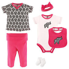 Yoga Sprout Girls 6 Piece Multi Color Damask Layette Set