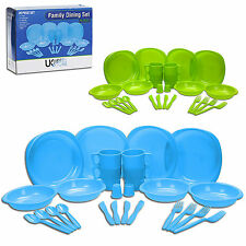 26 Piece Shatterproof Plastic Picnic Camping BBQ Party Family Dinner Dining Set