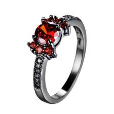 Red Ruby Women's Tray 10Kt Black Gold Filled Engagement CZ Ring Size 5-10
