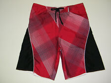 mens shorts SIDEOUT Men's Boardshort Red Black and White Size 32