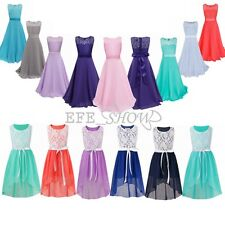 Flower Girls Formal Dresses Lace Floral Chiffon Ball Gown Party Princess Skirt
