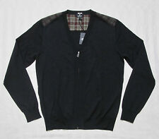 FACONNABLE Mens CONTRAST UPPER BACK Front Zip Cardigan-Style Wool Sweater M, XL