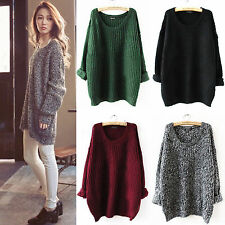Women Oversized Chunky Knitted Jumper Sweater Batwing Sleeve Loose Tops Cardigan