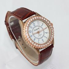 Leather Fashion Lady Girl Boy Men Classic Watch Casual Quartz Wristwatch U59G