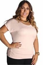 121AVENUE Simple Suede Ruched Side Top 1X 2X Women Plus Size Beige Casual USA