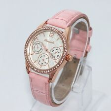 Fashion Women Ladies Quality Watch Leather Casual Quartz Crystal Wristwatch U58