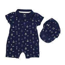 Rosie Pope Baby Basics Boys Blue Nautical Printed Romper with Matching Hat