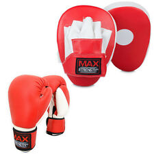 Focus Pad Boxing Set Hook Jab Mitts Punch Gym Training Sparring Bag Gloves MMA