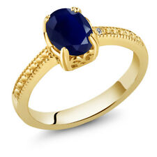 1.80 Ct Oval Blue Sapphire White Diamond 18K Yellow Gold Plated Silver Ring
