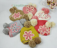 Fashion Women's 3D Flower Winter Ski Cap Knit Wool Warm Hat Baggy Beanies PomPom