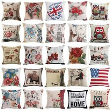 18'' Cotton Linen Throw Pillow Cases Home Decorative Cushion Cover Square Pillow