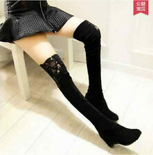 Sexy Women Winter Over Knee Faux Suede Stretch Thigh High Slouch Heel Boot Shoes