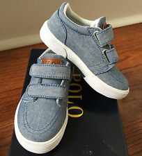 Polo Ralph Lauren Toddler Boys Faxon II EZ Blue Canvas Sneaker Tennis Shoes 7