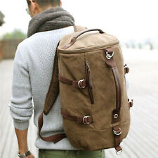 Men's Outdoor Canvas Leather Hiking Travel Military Messenger Tote Bag Backpack