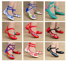 Chinese Vintage Women Embroidered Flower Wedge Ankle Strap Dancing Canvas Shoes