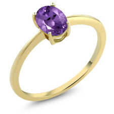 0.75 Ct Oval Purple Amethyst 10K Yellow Gold Solitaire Engagement Ring