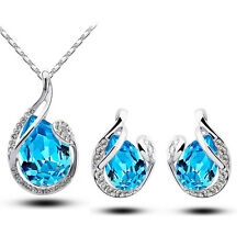 Fashion Teardrop Crystal Earring Pendant Necklace Jewelry Set Silver Plated