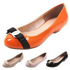 Pretty Work Ladies Bow Ballerinas Pumps Low Heel Flats AU sz 4 5 6 7 8 9 10