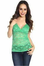 121AVENUE Gorgeous V Neck Lace Top S Small Women Green Casual Short Sleeve USA
