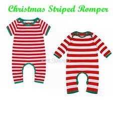 Cute Baby Toddler Clothing Short/Long Sleeve Xmas Special Striped Romper 3-24M