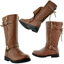 Kids Mid Calf Boots Lace Up Zipper Trim Quilted Knee High Riding Girl shoe Brown