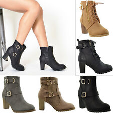 Womens Boots Ankle Booties Lace Up Buckle Strap High Heel Miltary Combat Style