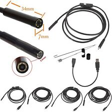 2M 6LED 5.5mm Android Endoscope Waterproof Snake Borescope USB Inspection Camera