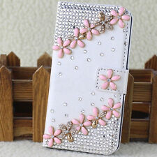 Crystal Magnetic Diamonds Pink flowers PU leather wallet flip phone case cover K