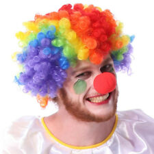 Party Disco Rainbow Afro Clown Hair Football Fan Adult Costume Curly Wig Cool HU