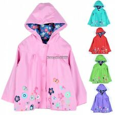 School Children Girls Waterproof Hooded Rain Coat Outwear Poncho Raincoat ED