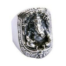Lucky Fortuna Elephant Trunk Ring .925 Silver Jewelry Cultural Men SZ15-1228