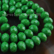 5x8mm Green Crystal Jade Faceted Rondelle Loose Beads 70pcs  G5768