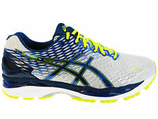 NEW MENS ASICS GEL-NIMBUS 18 RUNNING SHOES TRAINERS SILVER / INK / FLASH 2E WIDE