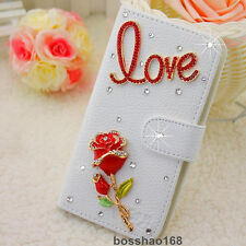 Bling Luxury love red rose flower Diamonds Crystal PU Leather flip Cover Case #D