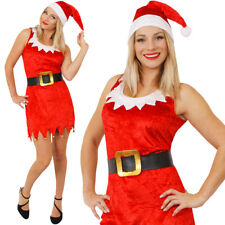 LADIES SEXY SANTA COSTUME & HAT CHRISTMAS FANCY DRESS XMAS OFFICE PARTY OUTFIT