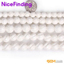 10,12mm Carved White Sea Shell Natural Stone Beads For Jewelry Making Strand 15""