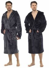 Wolf & Harte Mens Super Soft Fleece Hooded Dressing Gown Bath Robe M/L  L/XL