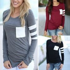 Women Fashion Blouse Autumn Casual Loose Long Sleeve Blouse Tops Casual T-shirt