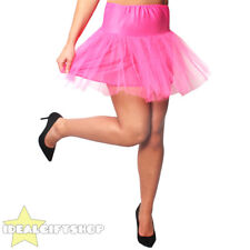 WOMENS HOT PINK NETTED TUTU UNDERSKIRT FANCY DRESS RETRO DANCE PETTICOAT 1950'S