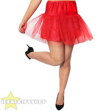 WOMENS RED NETTED TUTU UNDERSKIRT FANCY DRESS RETRO DANCE PETTICOAT 1950'S SWING