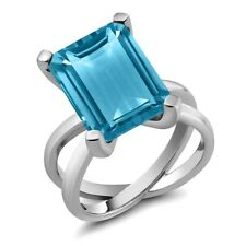 7.00 Ct Octagon Swiss Blue Topaz 925 Sterling Silver X Ring