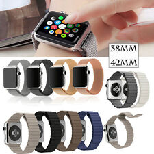 Genuine Leather Magnetic Milanese Loop Band Strap For Apple Watch iWatch 38/42mm