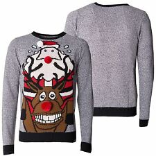 Mens Christmas Sweater Novelty Knitted Reindeer Xmas Jumpers Sizes S -XXL