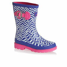 Joules Wellington Boots - Joules Girls Printed Welly  - Blue Zig Zag