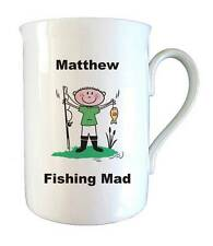 Personalised Fishing Mad Bone China Mug