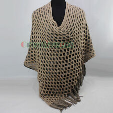 Hollow Out Fishnet Knit Tassel horizontal/V-Neck 2 Use Way Poncho Sweater New