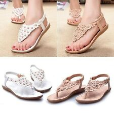 Hot Womens Summer Sexy Bohemia Sandals Beaded Flower FlipFlop Flat Shoes