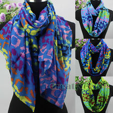 Fashion Women's Colorful Leopard Soft Infinity Loop Cowl Eternity Casual Scarf